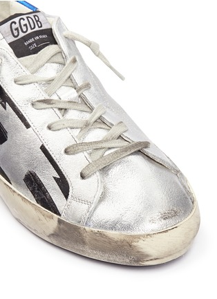 Detail View - Click To Enlarge - Golden Goose - 'Superstar' flag stripe metallic leather sneakers