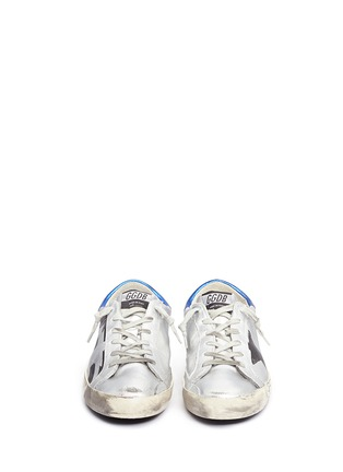 Front View - Click To Enlarge - Golden Goose - 'Superstar' flag stripe metallic leather sneakers
