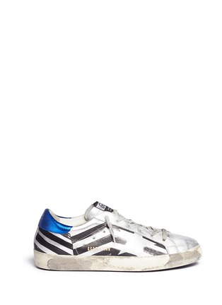 Main View - Click To Enlarge - Golden Goose - 'Superstar' flag stripe metallic leather sneakers