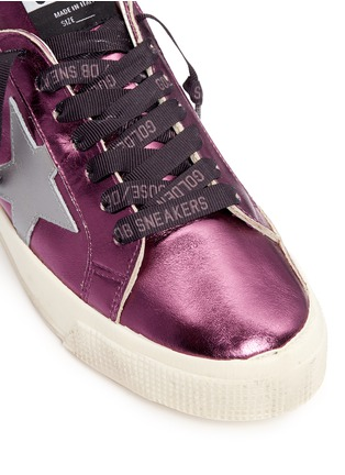 Detail View - Click To Enlarge - Golden Goose - 'May' star patch metallic leather sneakers