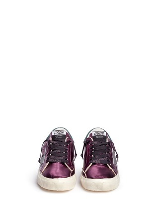 Front View - Click To Enlarge - GOLDEN GOOSE - 'May' star patch metallic leather sneakers