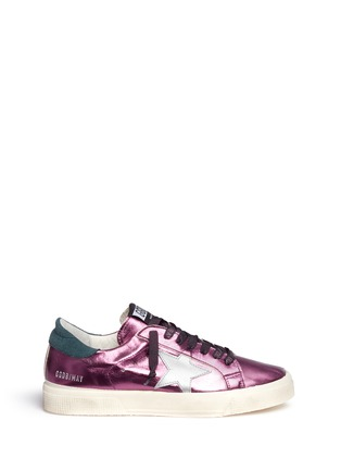Main View - Click To Enlarge - GOLDEN GOOSE - 'May' star patch metallic leather sneakers