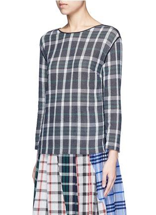 Front View - Click To Enlarge - RHIÉ - Mesh plaid cotton top