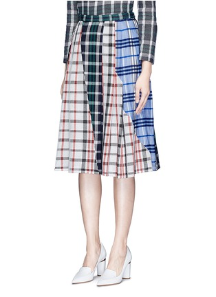 Front View - Click To Enlarge - 73182 - Patchwork plaid pleated cotton skirt