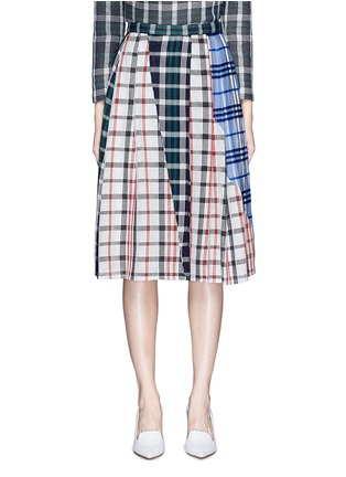 Main View - Click To Enlarge - 73182 - Patchwork plaid pleated cotton skirt