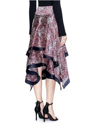Back View - Click To Enlarge - RHIÉ - Wave print plissé satin handkerchief skirt