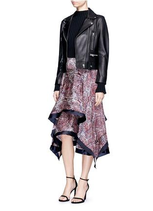 Figure View - Click To Enlarge - RHIÉ - Wave print plissé satin handkerchief skirt