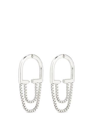 Main View - Click To Enlarge - Eddie Borgo - 'Allure' padlock hoop box chain earrings