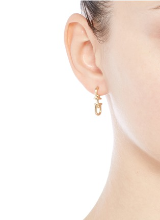 Figure View - Click To Enlarge - Eddie Borgo - 'Fame Link Day Drop' 12k gold plated earrings