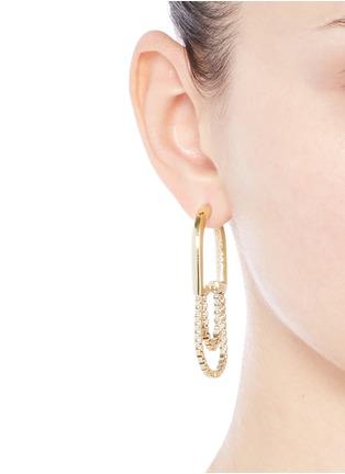 Figure View - Click To Enlarge - Eddie Borgo - 'Allure' padlock hoop box chain earrings