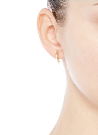 Figure View - Click To Enlarge - Eddie Borgo - 'Idle Stud' 12k gold plated drop earrings