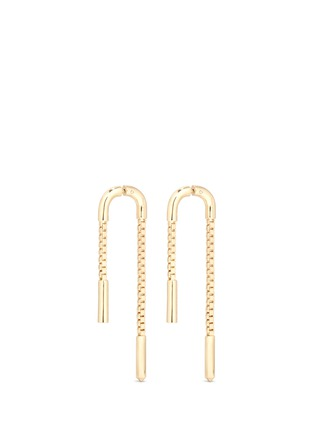Main View - Click To Enlarge - Eddie Borgo - 'Double Allure' padlock hoop box chain drop earrings