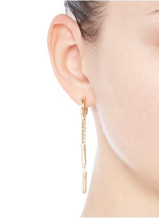 Figure View - Click To Enlarge - Eddie Borgo - 'Double Allure' padlock hoop box chain drop earrings