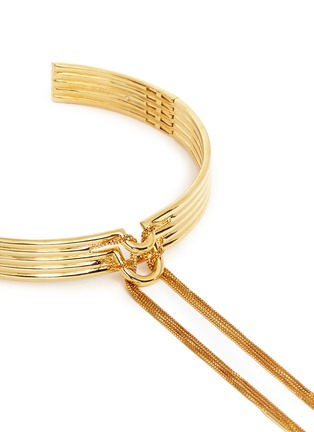 Detail View - Click To Enlarge - Eddie Borgo - 'Neo' 12k gold plated tassel bar collar