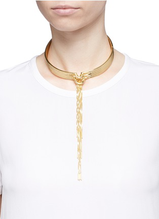 Figure View - Click To Enlarge - Eddie Borgo - 'Neo' 12k gold plated tassel bar collar