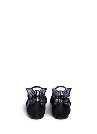 Back View - Click To Enlarge - Sophia Webster - 'Chiara' holographic butterfly appliqué suede Mary Jane flats