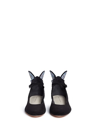 Front View - Click To Enlarge - Sophia Webster - 'Chiara' holographic butterfly appliqué suede Mary Jane flats
