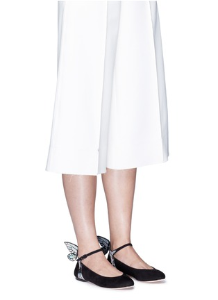 Figure View - Click To Enlarge - Sophia Webster - 'Chiara' holographic butterfly appliqué suede Mary Jane flats