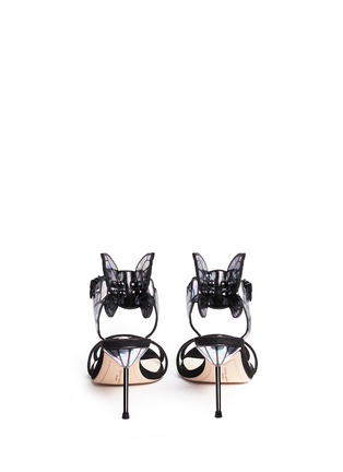 Back View - Click To Enlarge - Sophia Webster - 'Chiara' holographic butterfly appliqué suede sandals