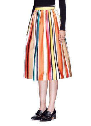 Front View - Click To Enlarge - alice + olivia - 'Nikola' variegated stripe cotton skirt