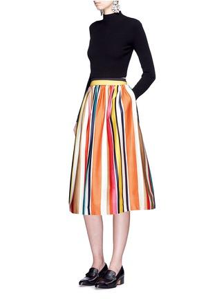 Figure View - Click To Enlarge - alice + olivia - 'Nikola' variegated stripe cotton skirt