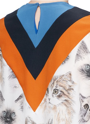 Detail View - Click To Enlarge - Stella McCartney - 'Alida' stripe cat print silk top
