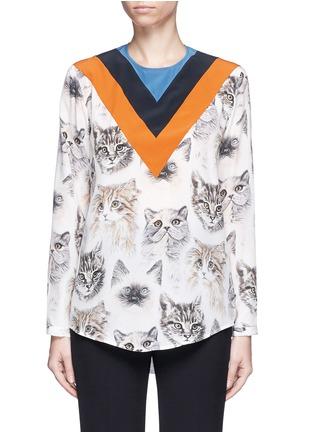 Main View - Click To Enlarge - Stella McCartney - 'Alida' stripe cat print silk top
