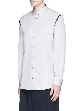 Front View - Click To Enlarge - ALEXANDER MCQUEEN - Shoulder stripe cotton shirt