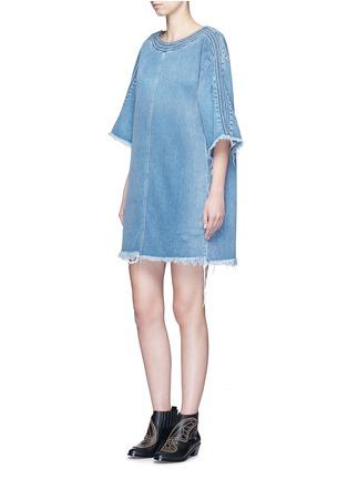 Figure View - Click To Enlarge - Chloé - Frayed trim cotton denim dress