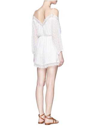 Back View - Click To Enlarge - Zimmermann - 'Realm' eyelash lace silk georgette playsuit