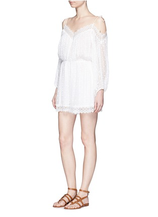 Figure View - Click To Enlarge - Zimmermann - 'Realm' eyelash lace silk georgette playsuit