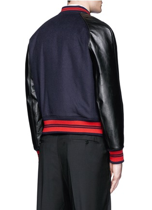 Back View - Click To Enlarge - Alexander McQueen - Leather sleeve wool felt baseball jacket