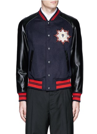 Main View - Click To Enlarge - Alexander McQueen - Leather sleeve wool felt baseball jacket