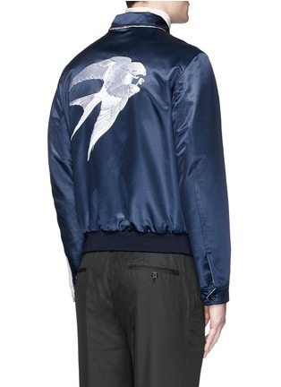 Back View - Click To Enlarge - Alexander McQueen - Swallow embroidery reversible satin blouson jacket