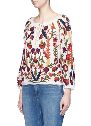 Front View - Click To Enlarge - alice + olivia - 'Naya' floral embroidery peasant top