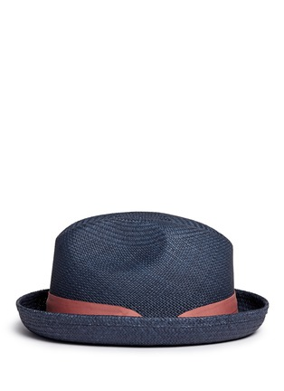 Figure View - Click To Enlarge - Sensi Studio - Feather straw Panama trilby hat