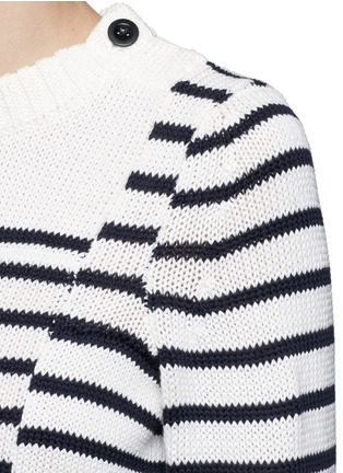Detail View - Click To Enlarge - Sacai - Asymmetric sleeve puzzle stripe knit sweater