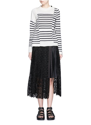 Figure View - Click To Enlarge - Sacai - Asymmetric sleeve puzzle stripe knit sweater