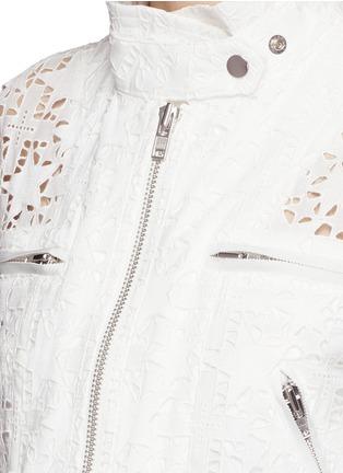 Detail View - Click To Enlarge - sacai - Star lace drawstring biker long coat