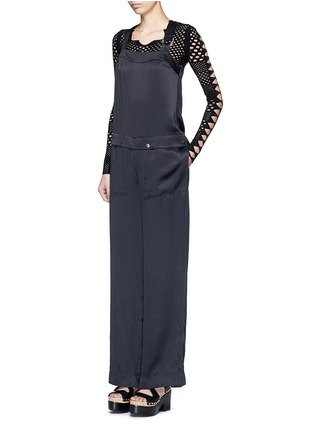 Figure View - Click To Enlarge - KENZO - Cinched D-ring strap sandwashed silk jumpsuit