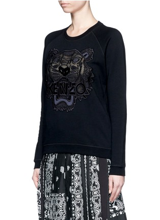 Front View - Click To Enlarge - KENZO - Mesh tiger embroidery cotton sweatshirt
