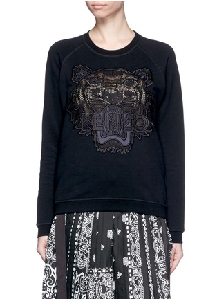 Main View - Click To Enlarge - KENZO - Mesh tiger embroidery cotton sweatshirt
