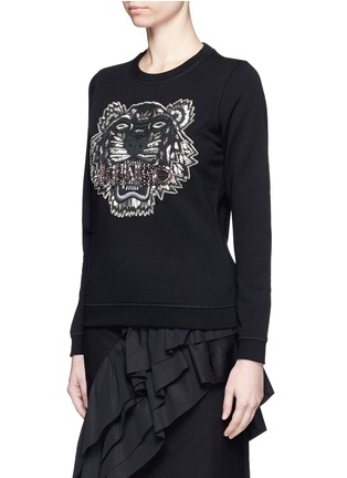 Front View - Click To Enlarge - KENZO - Embellished tiger embroidery cotton sweatshirt