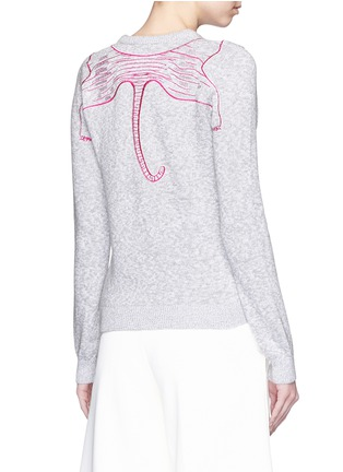 Back View - Click To Enlarge - KENZO - Metallic tiger embroidery marled cotton sweater