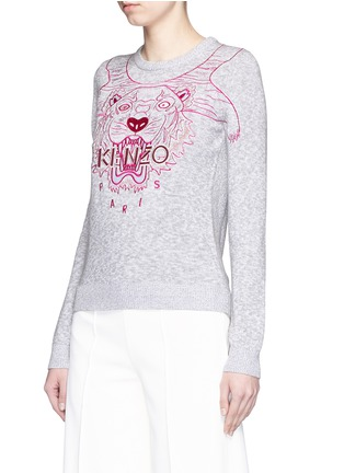 Front View - Click To Enlarge - KENZO - Metallic tiger embroidery marled cotton sweater