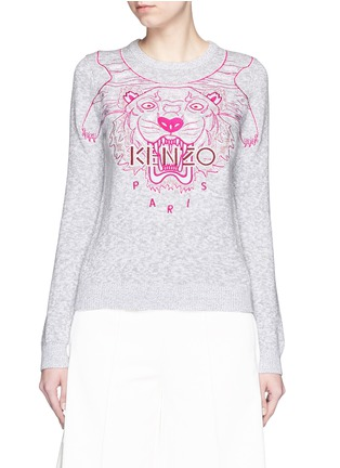 Main View - Click To Enlarge - KENZO - Metallic tiger embroidery marled cotton sweater