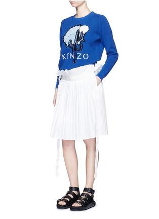 Figure View - Click To Enlarge - KENZO - Cactus appliqué embroidery cotton piqué sweatshirt