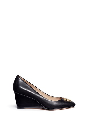 Main View - Click To Enlarge - Tory Burch - 'Raleigh' metal logo leather wedge pumps