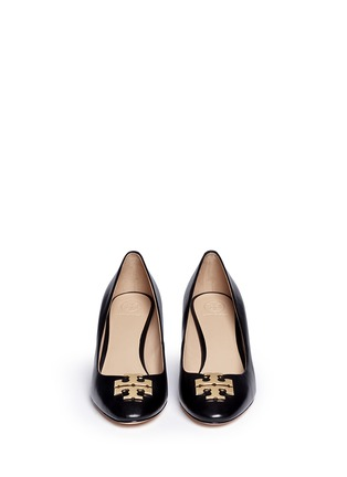 Figure View - Click To Enlarge - Tory Burch - 'Raleigh' metal logo leather wedge pumps