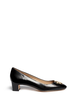 Main View - Click To Enlarge - Tory Burch - 'Raleigh' metal logo leather pumps